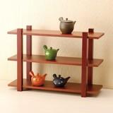 ■【ディスプレイ台】木製3段什器