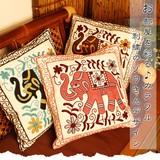 お部屋を彩る♪カラフル刺繍のゾウさんデザイン【ゾウさん刺繍クッションカバー】雑貨