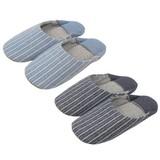 【Summer slippers】切替えバブーシュ 縦縞(M)