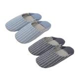 【Summer slippers】切替えバブーシュ 縦縞(L)
