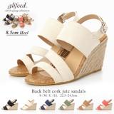 【倉庫移転記念SALE】◆[8.5cmヒール]ジュートウェッジサンダル/靴◆421461