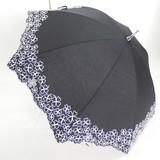 【晴雨兼用】スライドショート傘/ T/C無地刺繍カットワーク