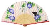 ◇夏商品 扇子袋付【朝顔と猫】(21cm)