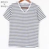 【SALE 49%OFF】先染めボーダー Vネック半袖Tシャツ