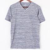 【2016年春夏新作】引き揃えMIXカラー杢 Vネック半袖Tシャツ