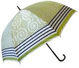【晴雨兼用】【レディース傘】サテンリーフボーダー柄58cm手開き