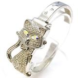 キラキラ☆猫バングルウォッチ レディース腕時計 ファッション アニマルバングル アクセサリー 腕輪