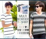 【IMP】マルチパターン ボーダー Tシャツ