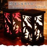 綺麗な模様を描くシンプル&レトロなランプ【ゾウさんアートパネルランプ】アジアン雑貨