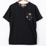 【2016年春夏新作】裏毛裏プリントポケット使い半袖Tシャツ 星
