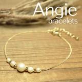 ** NEW【Angie】パール5個玉 ゴールド ブレスレット。エレガント&キュート **