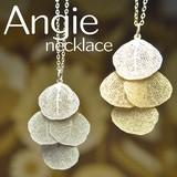 再入荷【Angie】葉脈リーフ4枚  ネックレス!ゴールド&シルバー。シンプル&フェミニン!