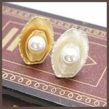 【指輪】オーバルメタルとパールのリング【2色】