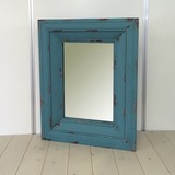 【送料無料:直送可】ウッドミラー(木製フレームマットブルー塗装)/自宅・店舗用品/アンティーク風