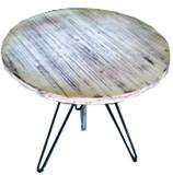 【送料無料:直送可】ウッドファニチャー (エイジングホワイト塗装)/丸テーブル/ガーデンテーブル/木製