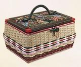【直送可】【送料無料】昔懐かしい手編み裁縫箱(ソーイングセット付き)