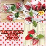 【イチゴ/おしゃれ/雑貨】いちごのスティックキャンディー/飴/かわいい/贈り物/プチギフト/配り物