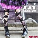 CATレギンス  猫柄  原宿系 派手カワ 総柄 ゆめかわいい 青文字系 KERA かわいい  個性的 ACDC