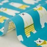 【生地】【布】【コットン】Smiling bear - ブルー デザインファブリック★50cm単位でカット販売