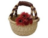 ハノイバスケット ラウンド シングルハンドル ☆水草の手編みカゴです