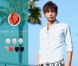 【IMP】綿麻 パナマ織り スキッパー 7分袖シャツ