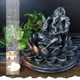 ロータスの花に鎮座する幻想的なガネーシャ香立て【ロータス&ガネーシャ香立て】アジアン雑貨