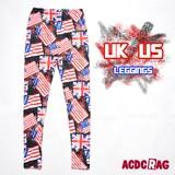 UK USレギンス ユニオンジャック 星条旗 UK 国旗 イギリス アメリカ 原宿系  ダンス衣装 個性的 ACDC