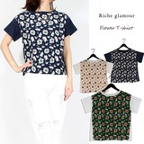 S/S Jersey Stretch Floral Pattern Print potpourri Switching T-shirt
