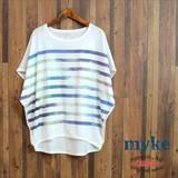 春夏■SALE■PRICE↓DOWNボーダープリントドルマンTシャツ/myke/SS