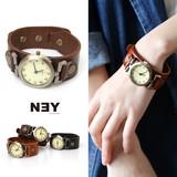◆[本革]太ベルトブレスレット腕時計/バングル/アクセサリー/小物/雑貨◆423069