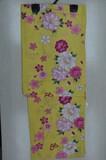 <ゆかた>変わり生地 牡丹に桜と蝶柄浴衣 黄色地