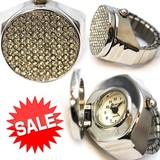 【在庫処分SALE】キラキラ蓋付き指時計! 指輪サイズのファッションウォッチ レディース 腕時計