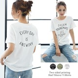 ◆[定番][綿100%]両面プリント・半袖Tシャツ/カットソー/トップス◆422519