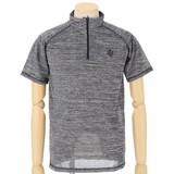 【16夏物入荷】 吸汗速乾半袖ハーフジップTシャツ 杢調のスポーツタイプ
