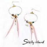 【再入荷】【Shelly island】タッセル&カラフルフェザーフックピアス