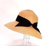 【2016年夏新作】ペーパーブレードハット 婦人帽子 グログランリボン巻き