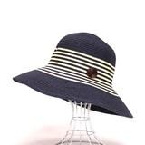 【2016年夏セール】ペーパーブレードハット 婦人帽子 ボーダー柄 ボタンモチーフ