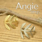 NEW【Angie】2色展開。ビッグリーフ デザイン リング!シンプル&フェミニン!**