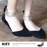 ◆メタリックストラップ付フラットサンダル/パンプス/靴/パーティー/フォーマル◆423061