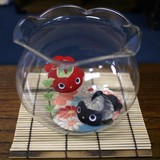 金魚鉢 和柄丸金魚2匹