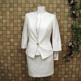 【七分袖スーツ】綿&シルク混♪キャミ型インナー付き 3点セットスーツ
