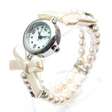 S/S Pearl Ribbon Bracelet Watch Ladies Wrist Watch Accessory