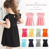 Bag Ribbon Frill One-piece Dress 8 Colors Girls