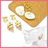 光石&パールと貝殻のイヤリング