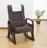 【直送可】【送料無料】立ち座り安心天然籐リクライニング座椅子(ノーマルタイプ/フットリクライニング付)