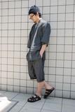 【泥棒日記】Jean-BEI デニム風甚平(ブラック)