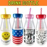 NEW!! ドリンクボトル * プラスチック製の牛乳瓶型タンブラーストロー付き!水筒、マイボトルに♪