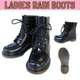 NEW!! 【レディース】レインブーツ8ホール * 黒いレースアップブーツ風の女子用長靴です♪
