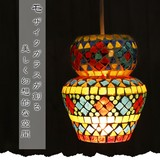 モザイクガラスが創る美しく幻想的な空間【モザイクガラスペンダントランプF】アジアン雑貨