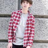 Revo. Cotton Checkered Long Sleeve Shirt